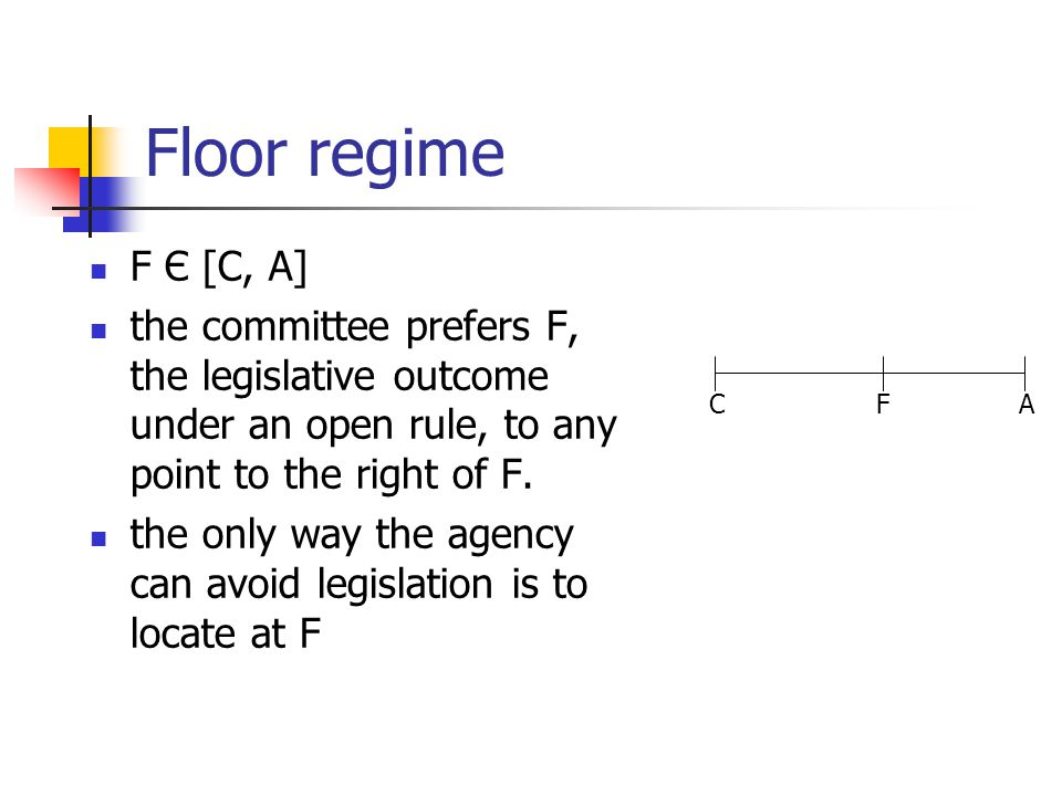 Floor regime F Є [C, A] the committee prefers F, the legislative outcome under an open rule, to any point to the right of F. the only way the agency c