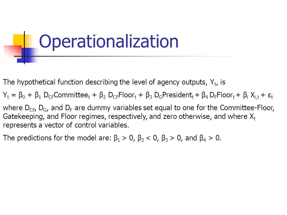 Operationalization The hypothetical function describing the level of agency outputs, Y t, is Y t = β 0 + β 1 D CF Committee t + β 2 D CF Floor t + β 3