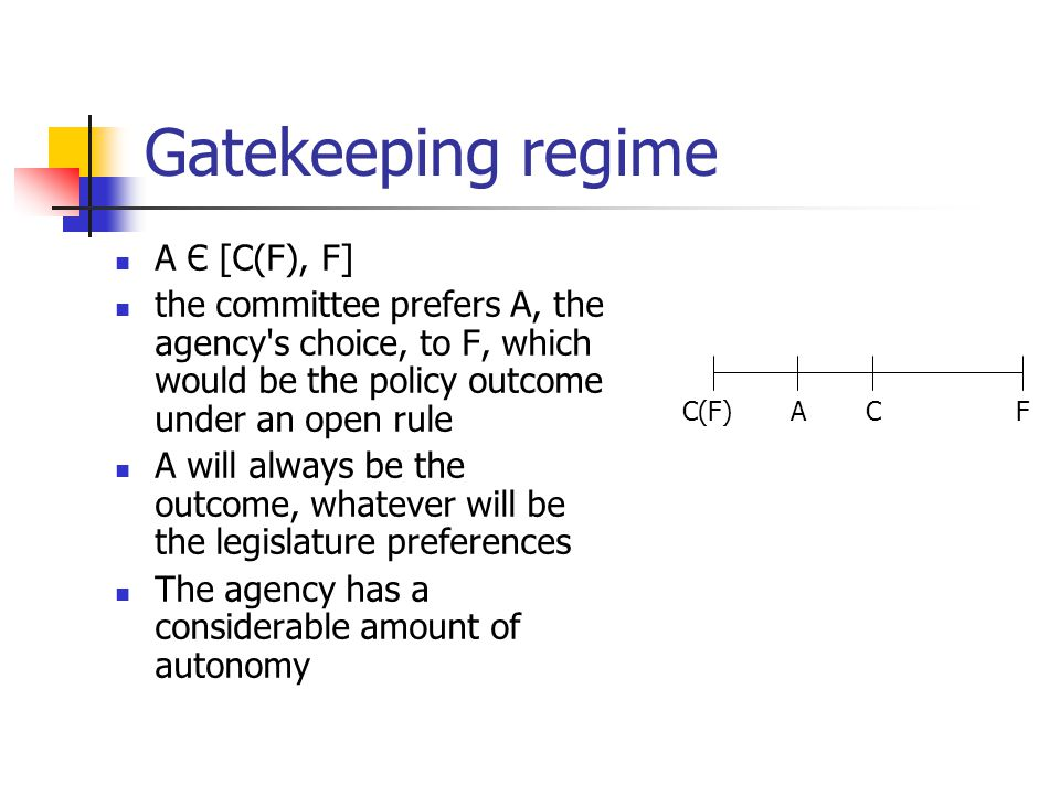 Gatekeeping regime A Є [C(F), F] the committee prefers A, the agency's choice, to F, which would be the policy outcome under an open rule A will alway