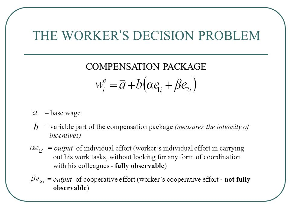 THE WORKER'S DECISION PROBLEM = base wage = variable part of the compensation package (measures the intensity of incentives) COMPENSATION PACKAGE = output of individual effort (worker's individual effort in carrying out his work tasks, without looking for any form of coordination with his colleagues - fully observable) = output of cooperative effort (worker's cooperative effort - not fully observable)