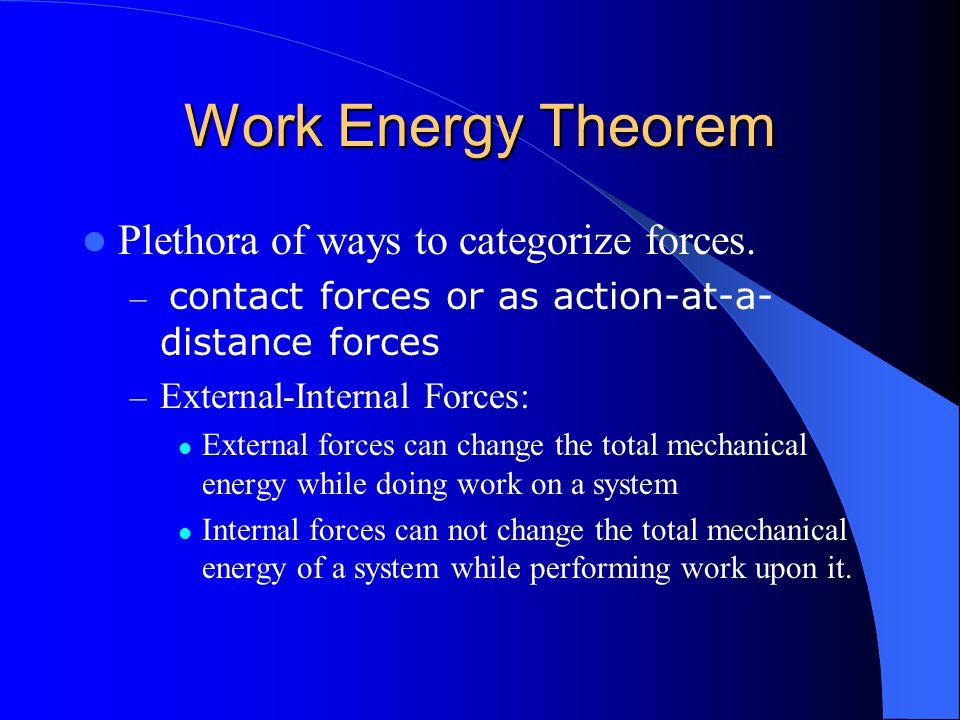 Work Energy Theorem Plethora of ways to categorize forces.