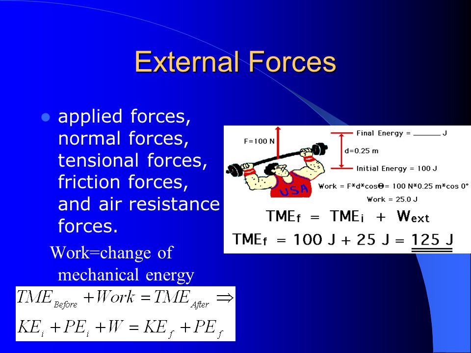 External Forces applied forces, normal forces, tensional forces, friction forces, and air resistance forces. Work=change of mechanical energy