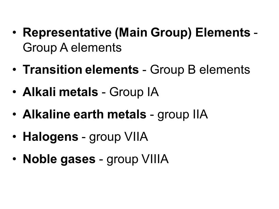 Representative (Main Group) Elements - Group A elements Transition elements - Group B elements Alkali metals - Group IA Alkaline earth metals - group IIA Halogens - group VIIA Noble gases - group VIIIA