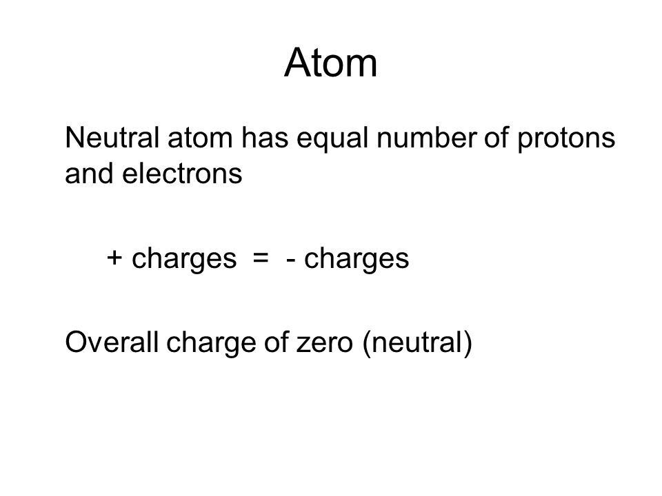 Atom Neutral atom has equal number of protons and electrons + charges = - charges Overall charge of zero (neutral)