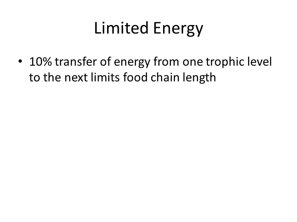 Limited Energy 10% transfer of energy from one trophic level to the next limits food chain length