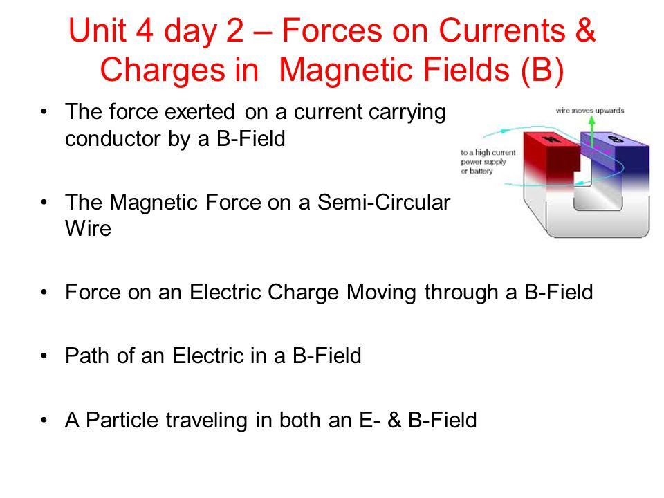 The Force Exerted on a Current Carrying Conductor in a B-Field #2 Not only does a current in a wire generate a magnetic field and exert a force on a compass needle, but by Newton's 3 rd Law, the reverse is also true.