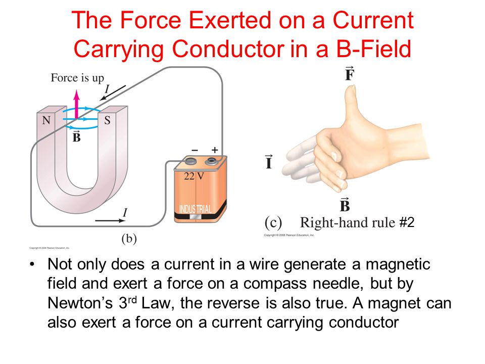 Magnetic Force on a Current Carrying Conductor where l is the length of wire immersed in the magnetic field This implies that the direction of the force is perpendicular to the direction of the B-Field (Right Hand Rule #2) Then the maximum force is: