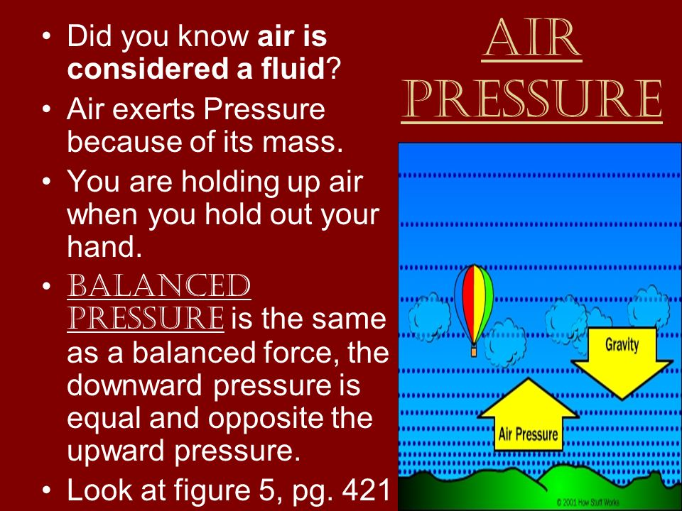 Air Pressure Did you know air is considered a fluid.