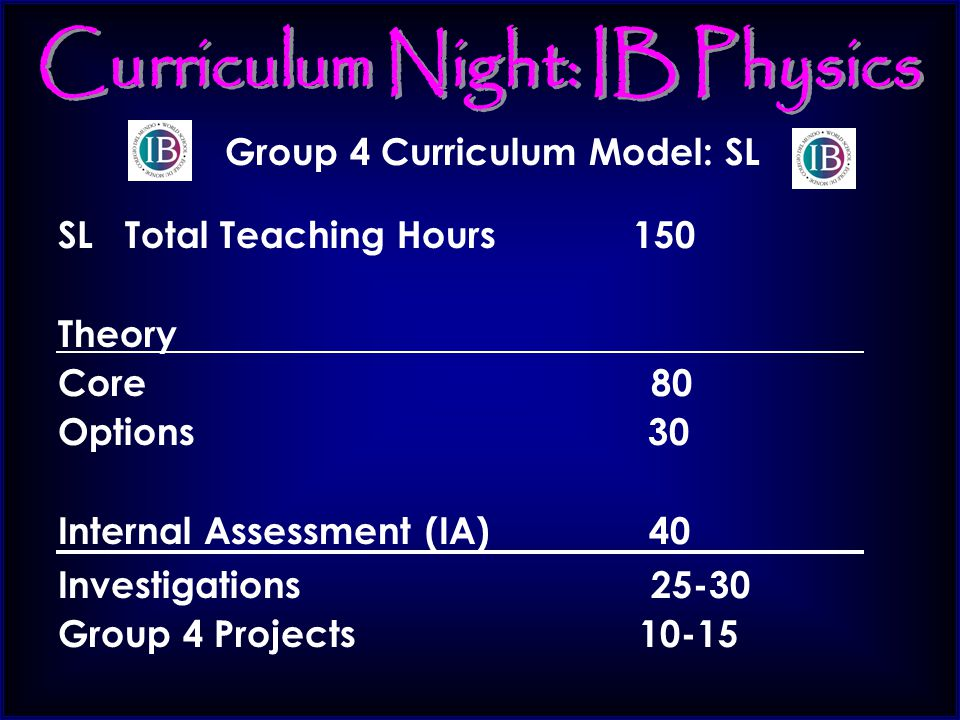 Group 4 Curriculum Model: SL SL Total Teaching Hours 150 Theory Core 80 Options 30 Internal Assessment (IA) 40 Investigations 25-30 Group 4 Projects 10-15