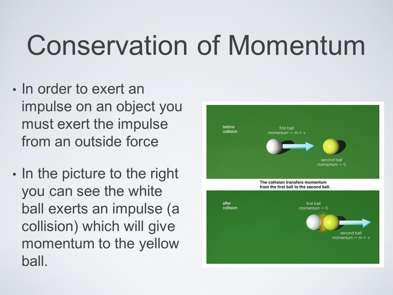 Conservation of Momentum In order to exert an impulse on an object you must exert the impulse from an outside force In the picture to the right you can see the white ball exerts an impulse (a collision) which will give momentum to the yellow ball.