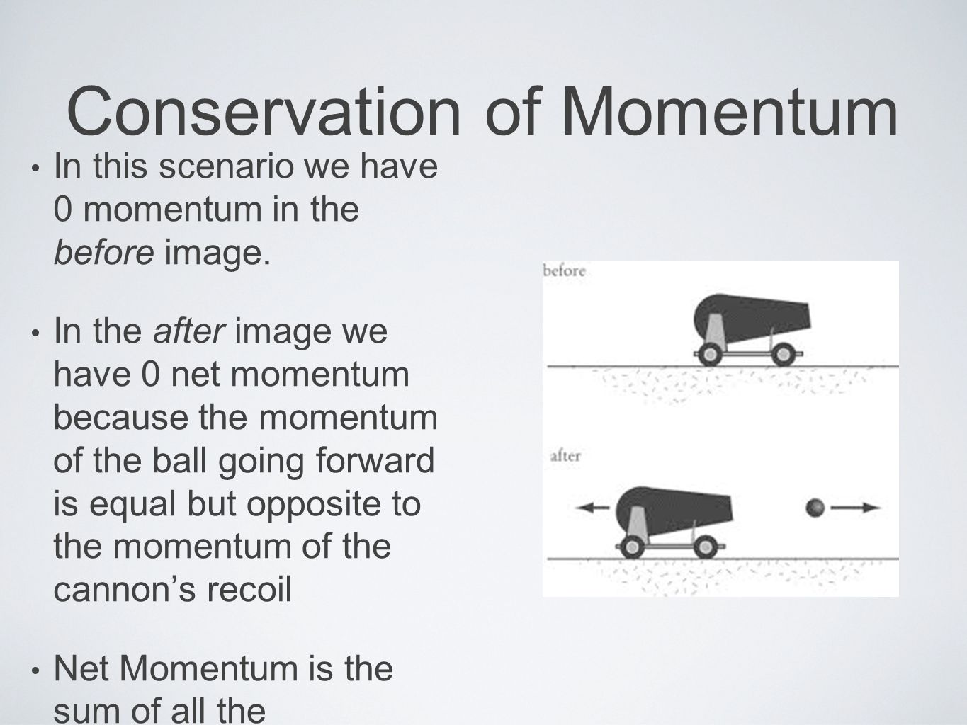 Conservation of Momentum Momentum, like velocity and force, has both direction and magnitude.