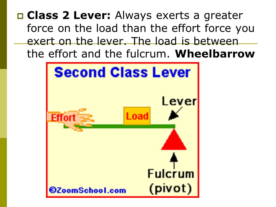  Class 2 Lever: Always exerts a greater force on the load than the effort force you exert on the lever.