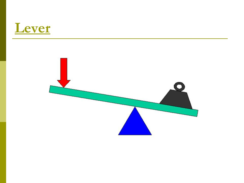 Classes of Levers  Class 1 Lever: The fulcrum is between the effort and the load. Scissors