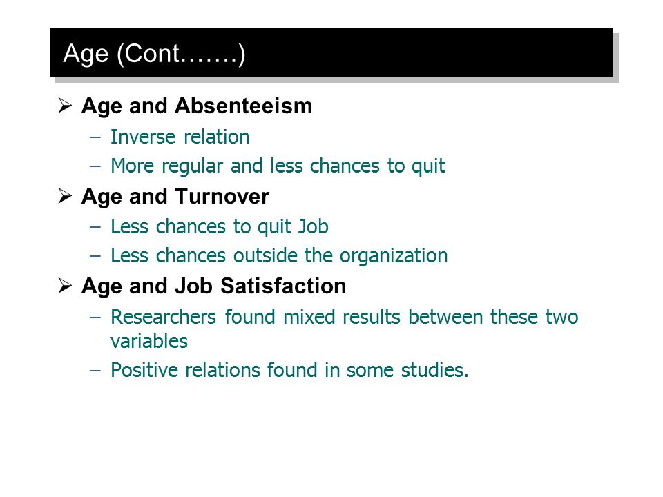 Age (Cont…….)  Age and Absenteeism –Inverse relation –More regular and less chances to quit  Age and Turnover –Less chances to quit Job –Less chance
