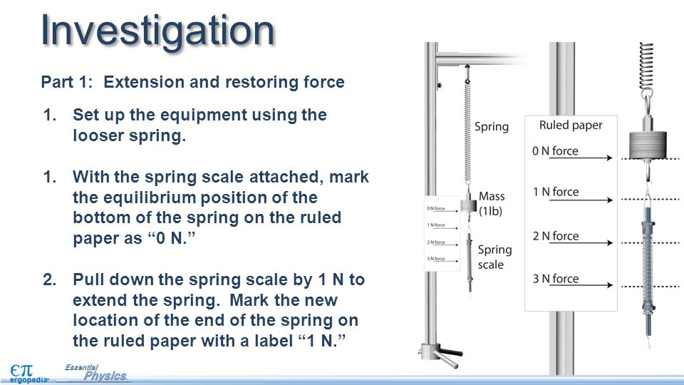 1.Set up the equipment using the looser spring. 1.With the spring scale attached, mark the equilibrium position of the bottom of the spring on the rul