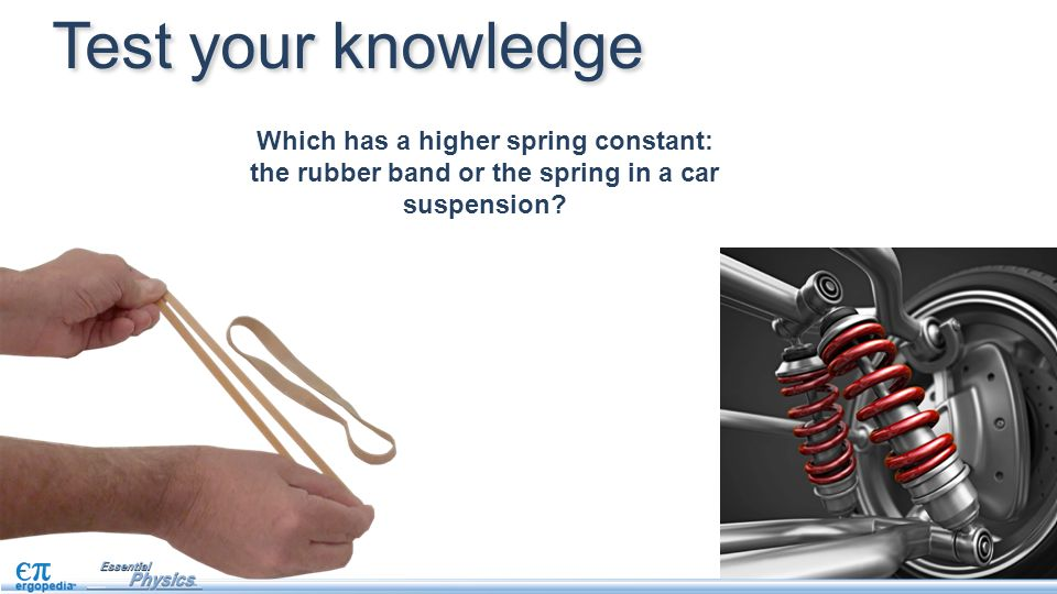Test your knowledge Which has a higher spring constant: the rubber band or the spring in a car suspension?