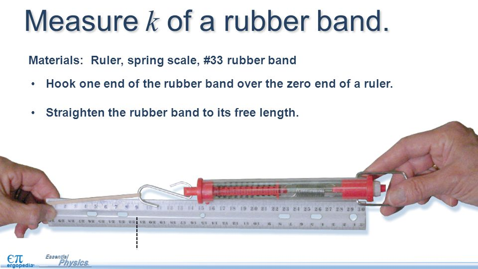 Measure k of a rubber band. Hook one end of the rubber band over the zero end of a ruler. Straighten the rubber band to its free length. Materials: Ru