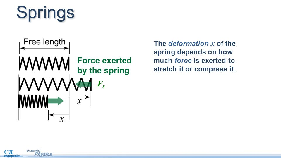 The deformation x of the spring depends on how much force is exerted to stretch it or compress it. Springs FsFs