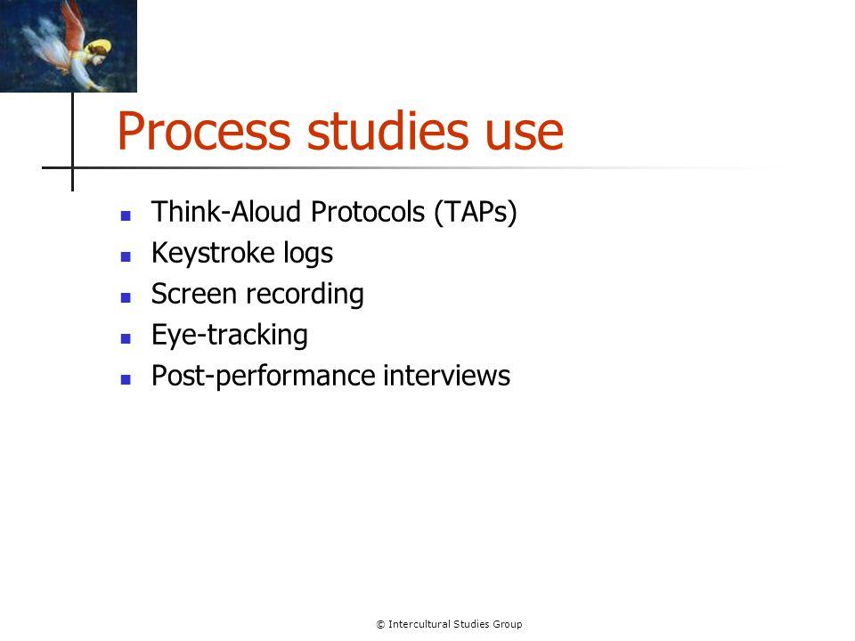 © Intercultural Studies Group Process studies use Think-Aloud Protocols (TAPs) Keystroke logs Screen recording Eye-tracking Post-performance interview