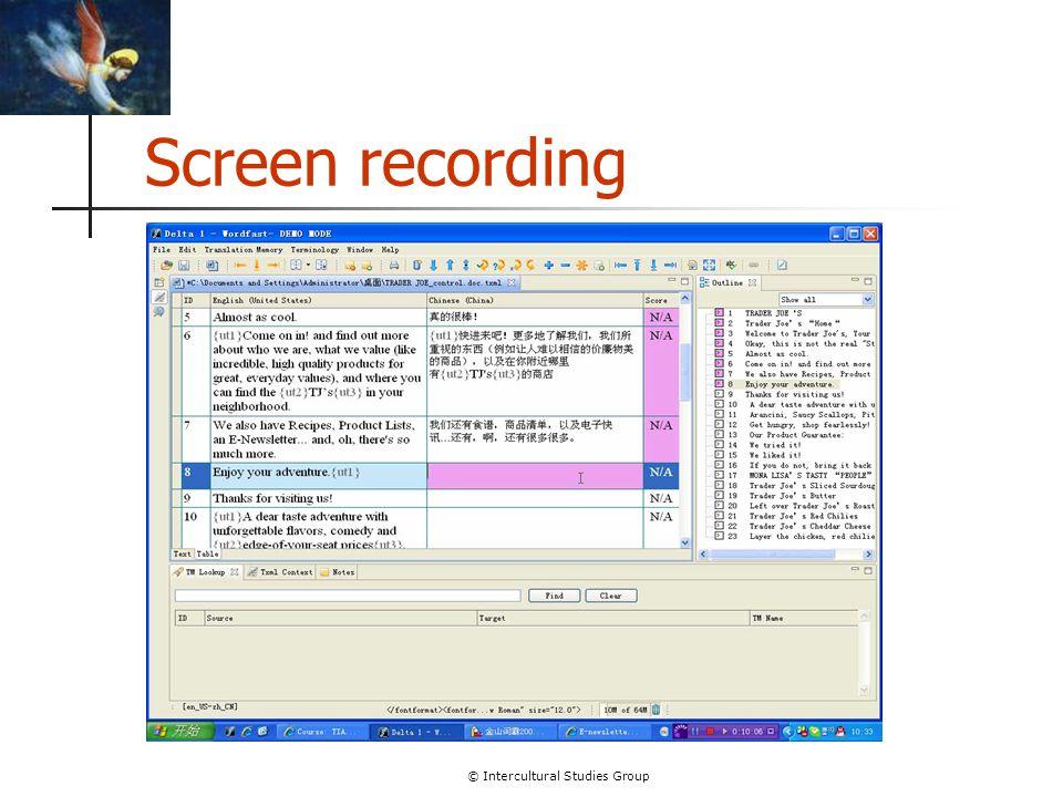 © Intercultural Studies Group Screen recording