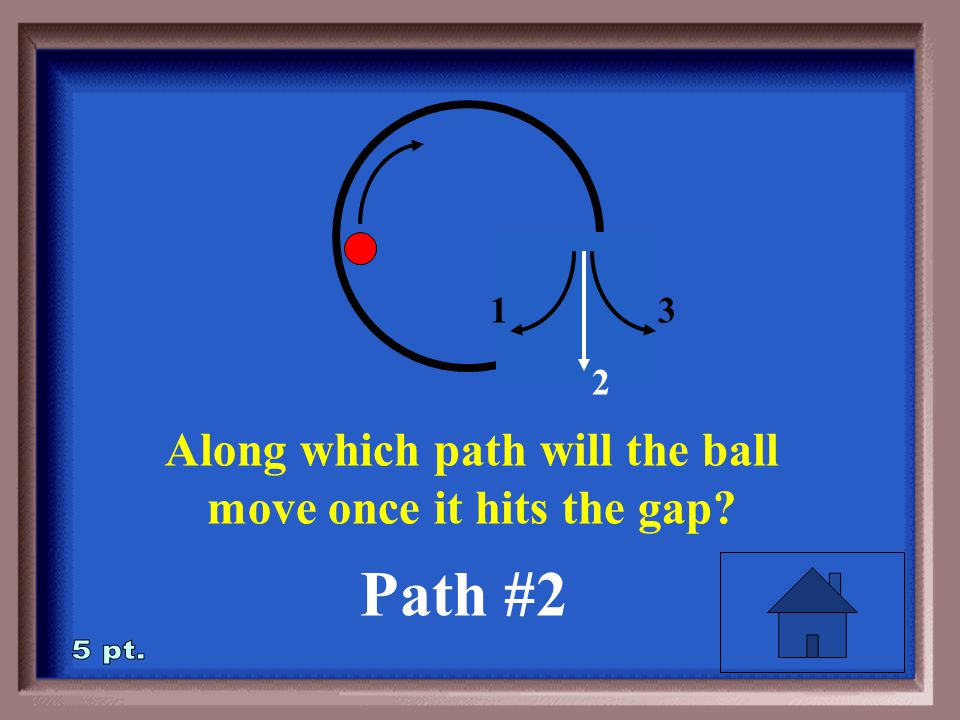 2-5 Along which path will the ball move once it hits the gap 1 2 3