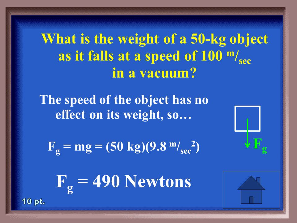 3-10 What is the weight of a 50-kg object as it falls at a speed of 100 m / sec in a vacuum