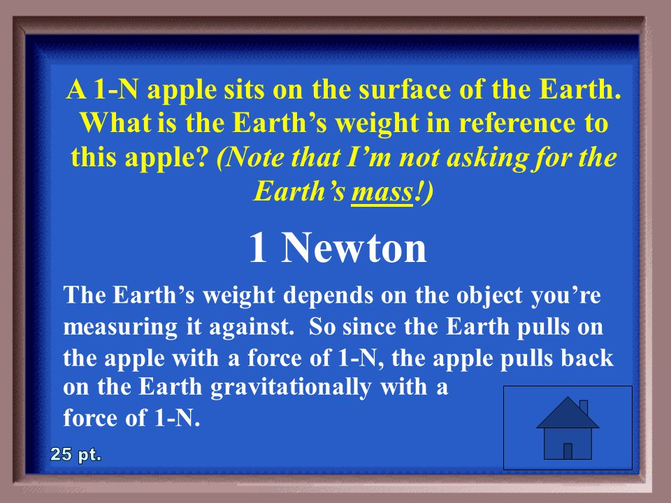 4-25 A 1-N apple sits on the surface of the Earth.