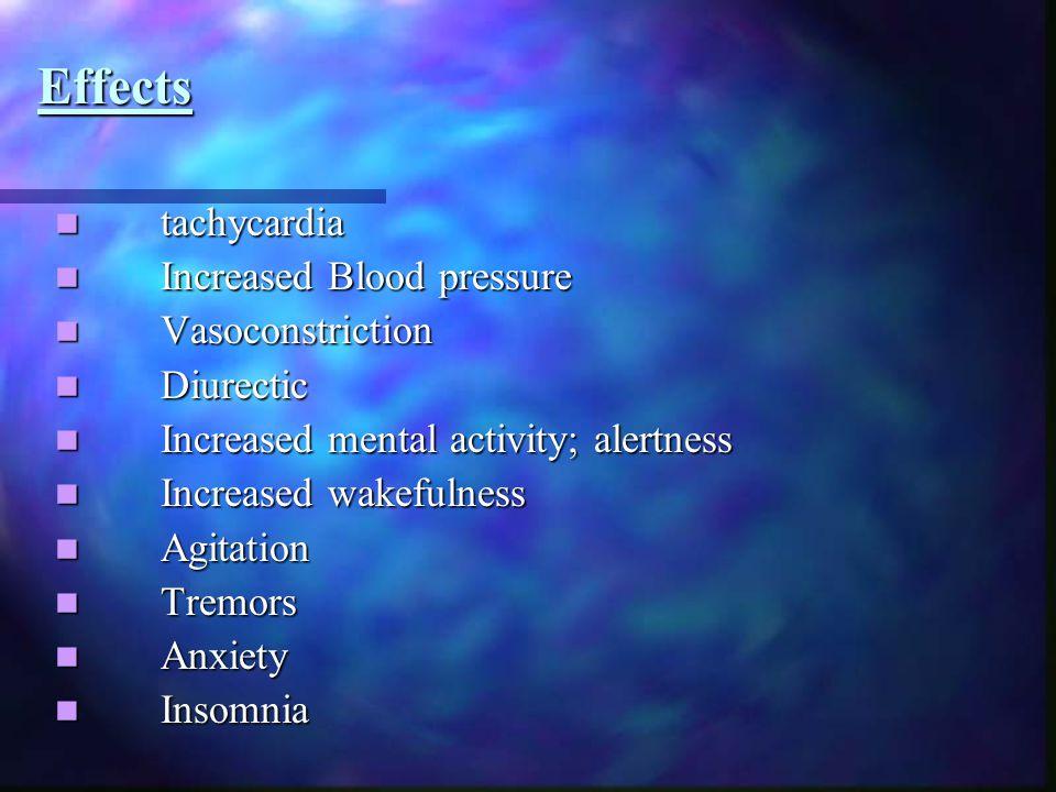 Effects tachycardia tachycardia Increased Blood pressure Increased Blood pressure Vasoconstriction Vasoconstriction Diurectic Diurectic Increased ment