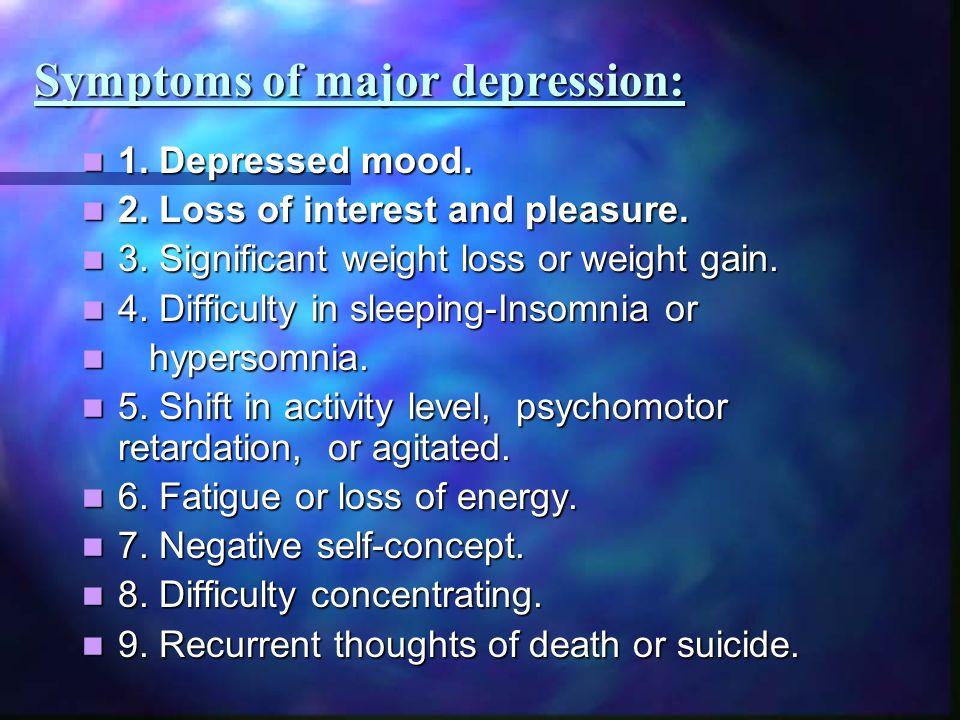 Symptoms of major depression: 1. Depressed mood. 1. Depressed mood. 2. Loss of interest and pleasure. 2. Loss of interest and pleasure. 3. Significant