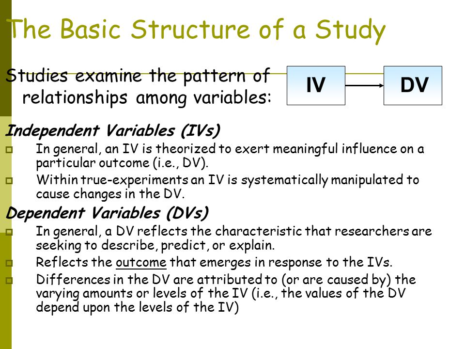 The Basic Structure of a Study Independent Variables (IVs)  In general, an IV is theorized to exert meaningful influence on a particular outcome (i.e., DV).