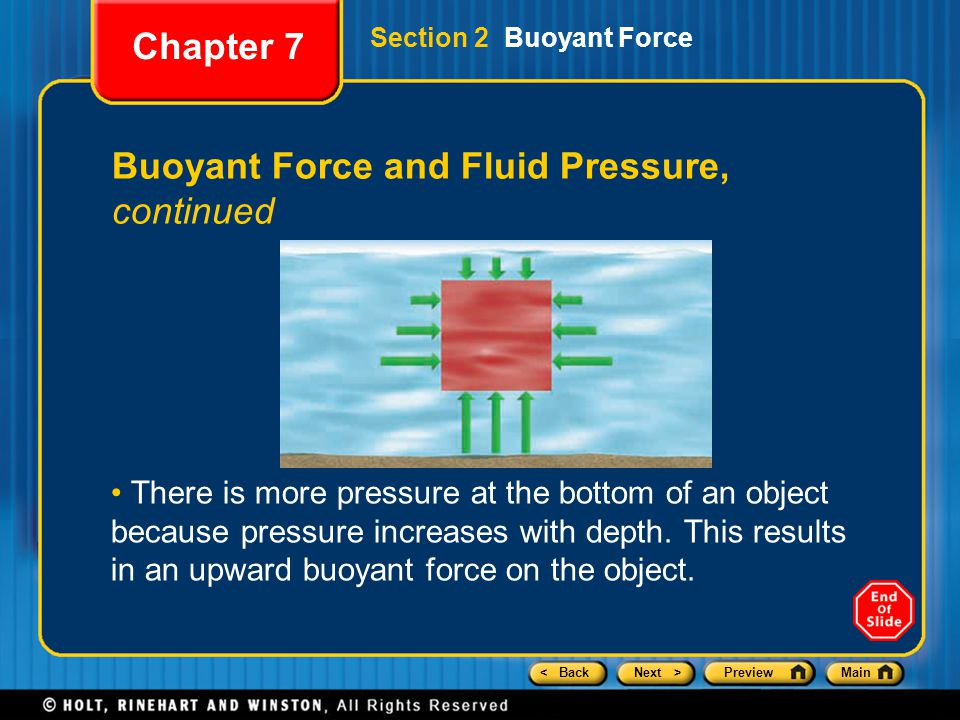 < BackNext >PreviewMain Buoyant Force and Fluid Pressure, continued There is more pressure at the bottom of an object because pressure increases with