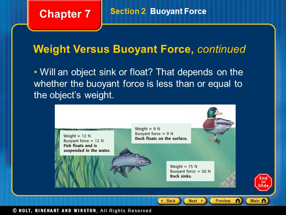 < BackNext >PreviewMain Weight Versus Buoyant Force, continued Chapter 7 Will an object sink or float? That depends on the whether the buoyant force i