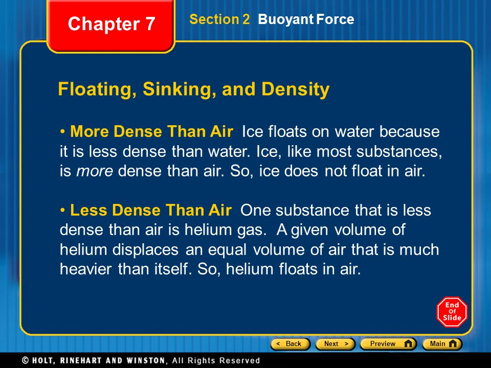 < BackNext >PreviewMain Floating, Sinking, and Density More Dense Than Air Ice floats on water because it is less dense than water. Ice, like most sub