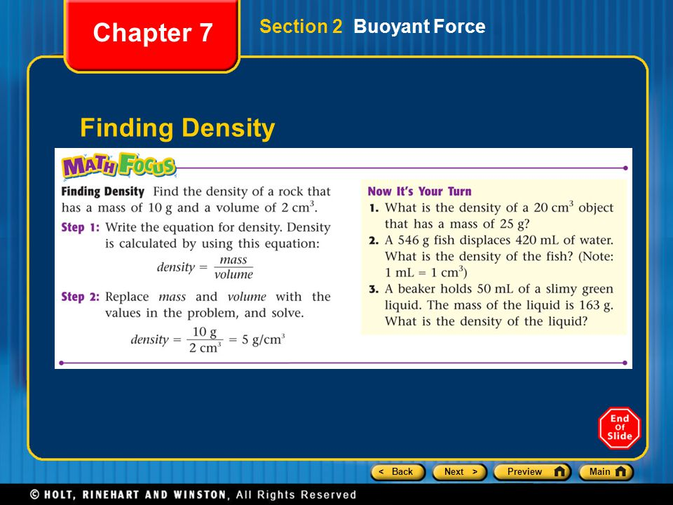 < BackNext >PreviewMain Finding Density Chapter 7 Section 2 Buoyant Force