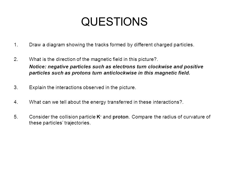QUESTIONS 1.Draw a diagram showing the tracks formed by different charged particles.