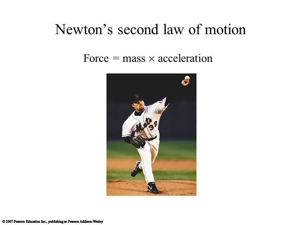 Newton's second law of motion Force = mass  acceleration