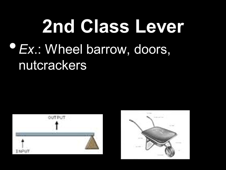 2nd Class Lever Ex.: Wheel barrow, doors, nutcrackers