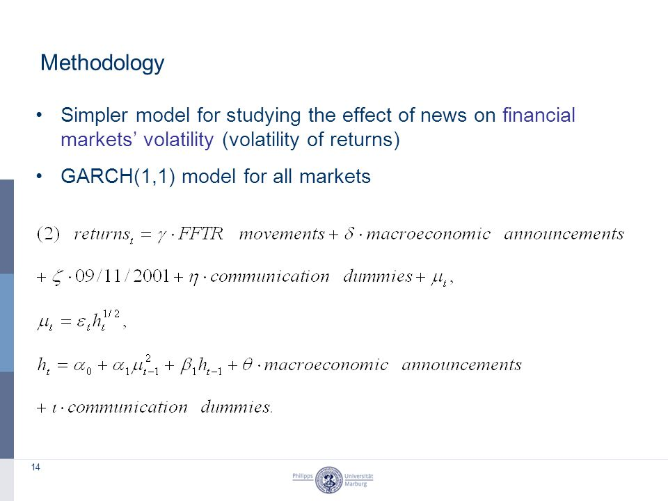 14 Methodology Simpler model for studying the effect of news on financial markets' volatility (volatility of returns) GARCH(1,1) model for all markets
