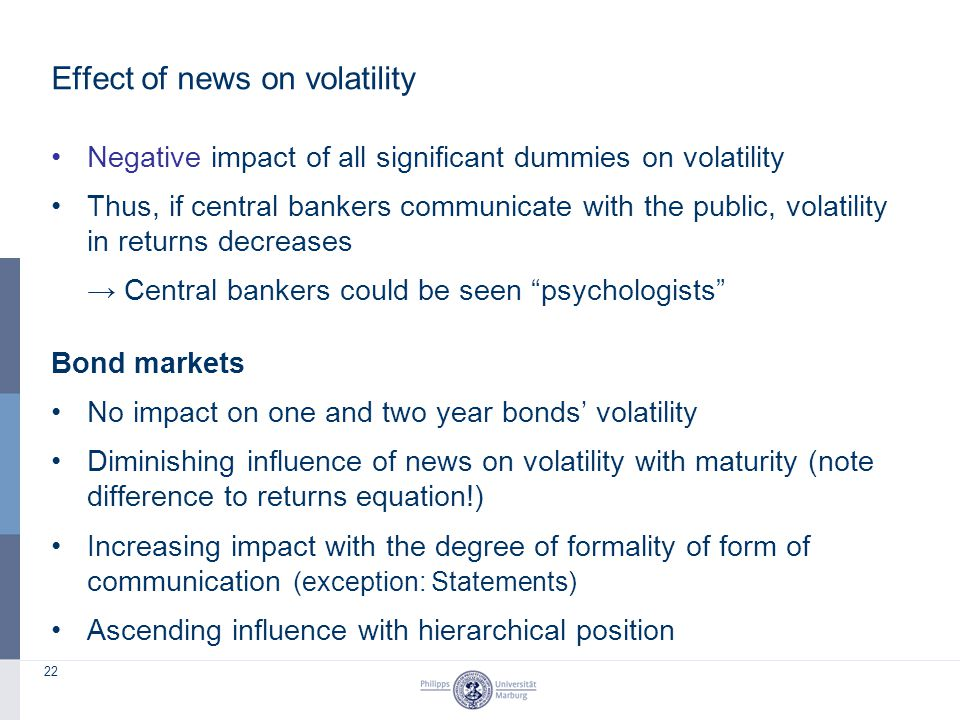 22 Effect of news on volatility Negative impact of all significant dummies on volatility Thus, if central bankers communicate with the public, volatil