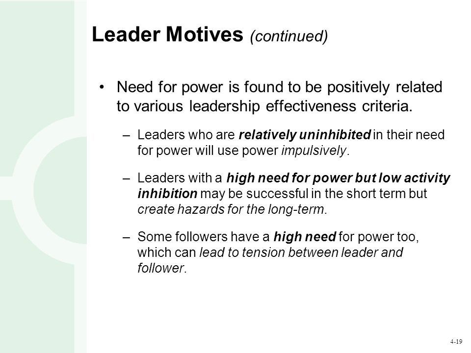4-19 Leader Motives (continued) Need for power is found to be positively related to various leadership effectiveness criteria. –Leaders who are relati