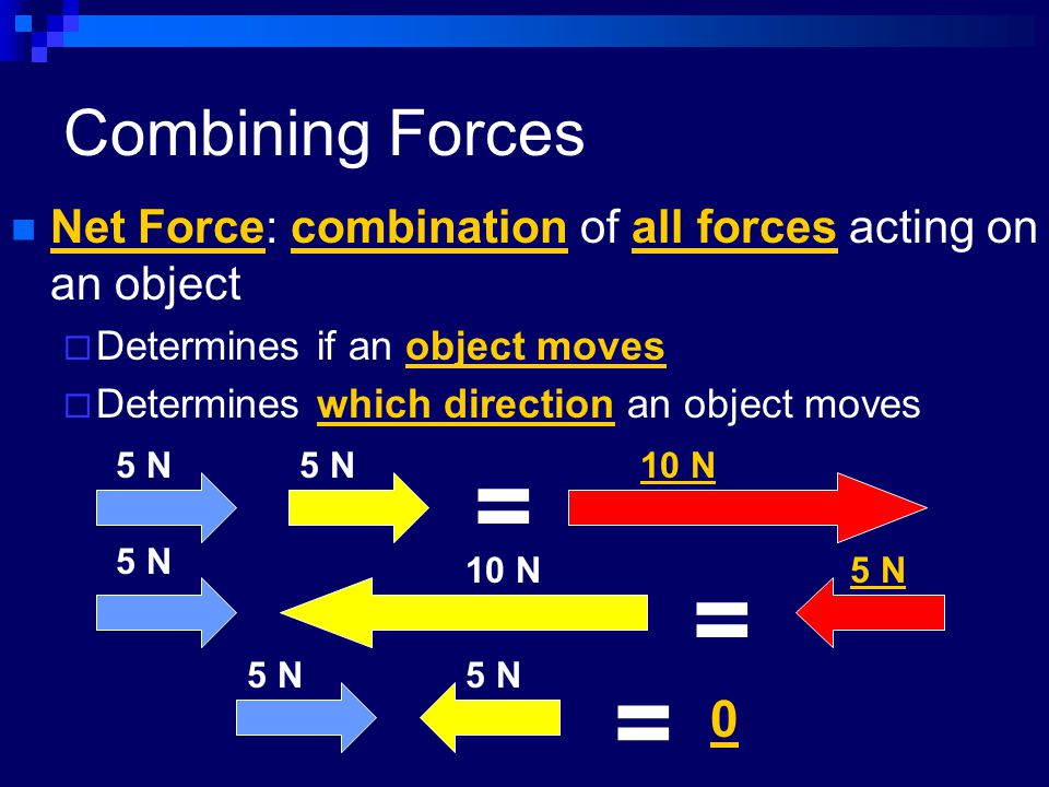 Combining Forces Net Force: combination of all forces acting on an object  Determines if an object moves  Determines which direction an object moves