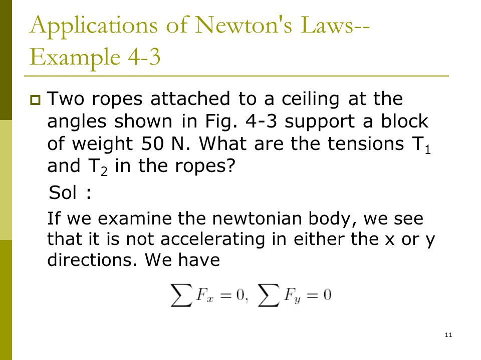 11 Applications of Newton s Laws-- Example 4-3  Two ropes attached to a ceiling at the angles shown in Fig.