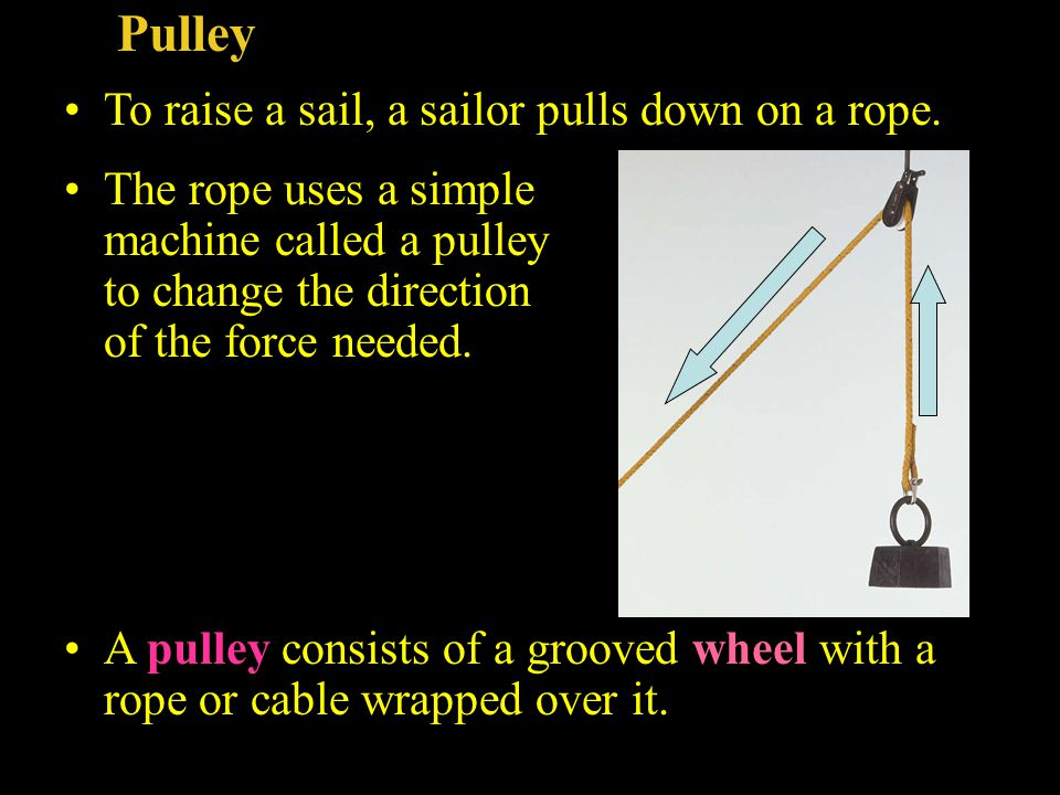 Pulley To raise a sail, a sailor pulls down on a rope. The rope uses a simple machine called a pulley to change the direction of the force needed. A p