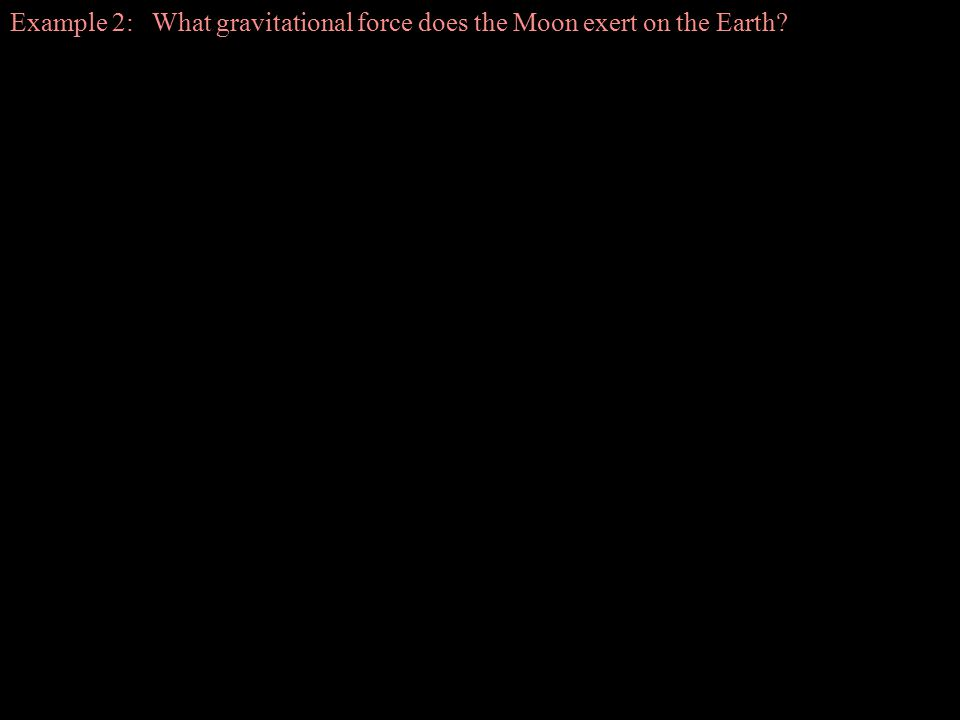 Example 2: What gravitational force does the Moon exert on the Earth