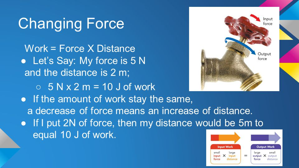 Changing Force Work = Force X Distance ●Let's Say: My force is 5 N and the distance is 2 m; ○5 N x 2 m = 10 J of work ●If the amount of work stay the