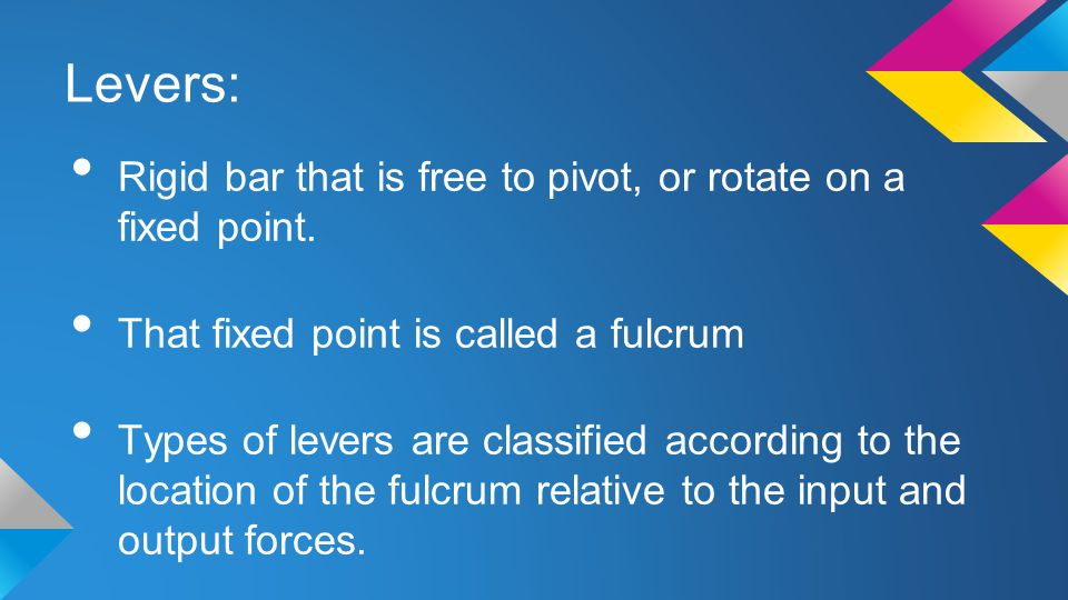 Levers: Rigid bar that is free to pivot, or rotate on a fixed point. That fixed point is called a fulcrum Types of levers are classified according to