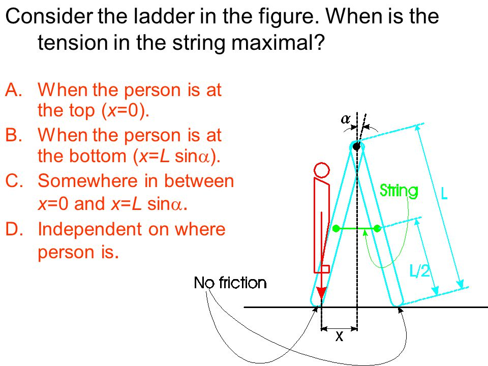 Consider the ladder in the figure. When is the tension in the string maximal? A.When the person is at the top (x=0). B.When the person is at the botto