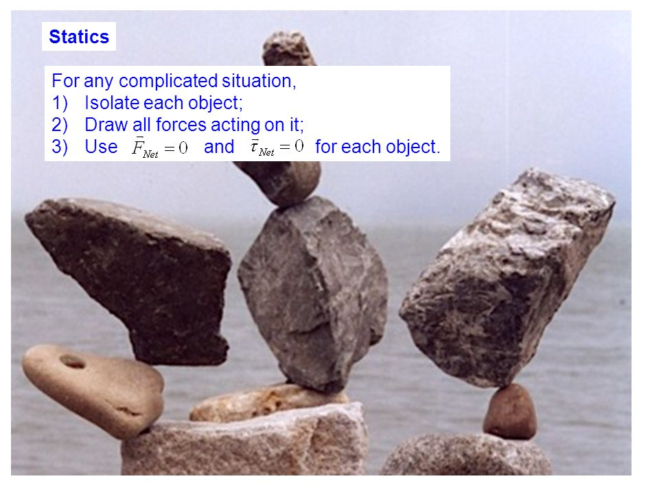 Statics For any complicated situation, 1)Isolate each object; 2)Draw all forces acting on it; 3)Use and for each object.