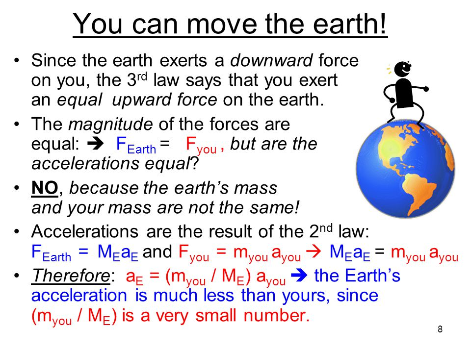 Example: The bouncing ball Why does the ball bounce? When the ball hits the ground it exerts a downward force on it By the 3 rd law, the ground must e