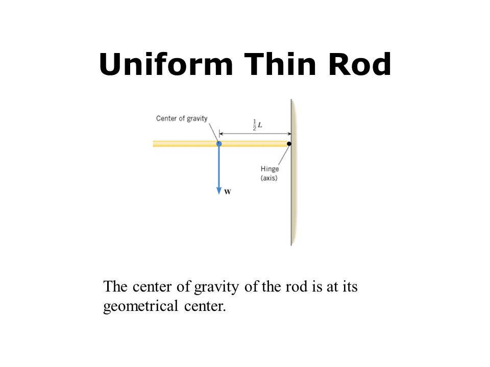 Uniform Thin Rod The center of gravity of the rod is at its geometrical center.